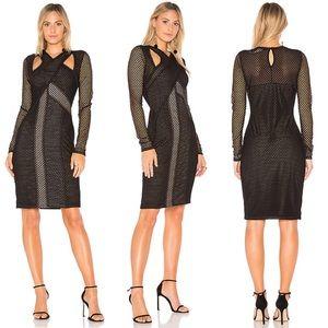NWT BCBGMaxAzria Jaylynn Black Mesh Dress